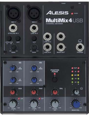 "CONSOLE MIXAGE MULTIMIX USB MM4 ""ALESIS"" 4 ENTREES AVEC CARTE SON INTEGREE"